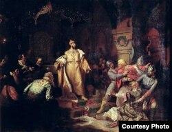 Николай Шустов. Иоанн III свергает татарское иго, разорвав ханскую грамоту и приказав умертвить послов. 1862 год.