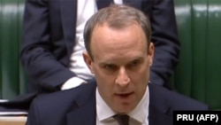 U.K. -- British Foreign Secretary and First Secretary of State Dominic Raab responds to an urgent question regarding the situation in Iran in the House of Commons in London, January 13, 2020