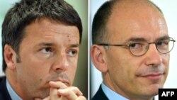Itali - Sekretari i Përgjithshëm i Partisë Demokratike Matteo Renzi (M) dhe kryeministri italian Enrico Letta (Ilustrim)