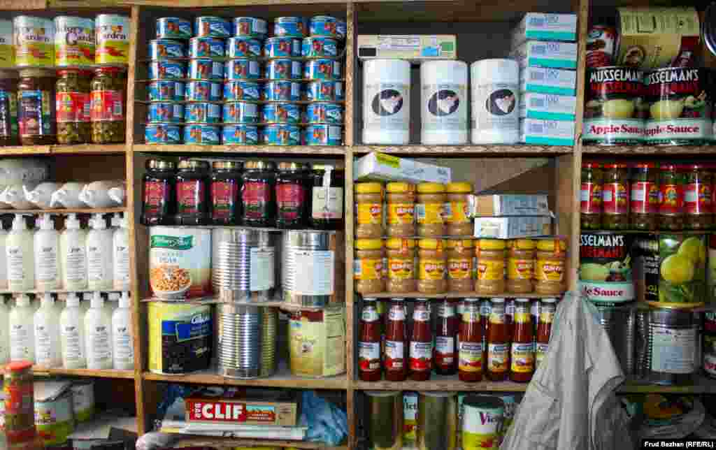 American foodstuffs smuggled from U.S. bases in Afghanistan are sold in the bazaar.