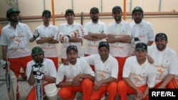 Radio Azadi Cricket Team takes a group photo during their first season