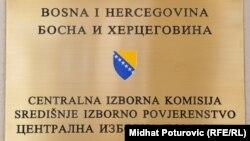 Tabla na ulazu u Centralnu izbornu komisiju BiH