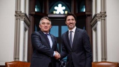 Željko Komšić član Predsjedništva i Džastini Trudo kanadski premijer, prilikom susreta 11. marta 2020.