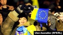 Шеруге шыққан әйел. Киев, 15 желтоқсан 2013 жыл.