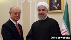 Юкио Амано жана Хасан Роухани, Тегеран, 20-сентябрь, 2015-жыл.
