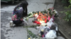 An impromptu memorial in Vienna to a girl of Chechen origin who was stabbed to death by a neighbor.