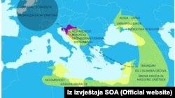 Ilustracija sigurnosnih izazova u širem okruženju Republike Hrvatske, grafika iz izvještaja SOA-e