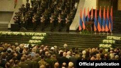 Armenia - President Serzh Sarkisian gives a speech at an Independence Day reception in Yerevan, 21Sep2014.