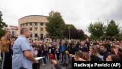 Protest novinara zbog premlaćivanja Vladimira Kovačevića iz BN televizije u Banja Luci, 27. avgust 2018.