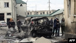 The site of a suicide bombing in Makhachkala, Daghestan, on January 6