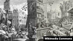 """""""Улица Пива и улица Джина"""" – аллегорическая гравюра Уильяма Хогарта, XVIII век. Вопреки слухам, ЕС и сегодня все равно, из бутылок какой формы пьют джин европейцы"""