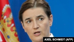 Serbian Prime Minister Ana Brnabic gives a joint press conference with the German Chancellor (not in picture) at the Chancellery in Berlin on September 18, 2019. (Photo by AXEL SCHMIDT / AFP)