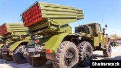 """Российские 122-миллиметровые реактивные установки залпового огня """"Град"""""""
