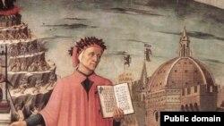Данте Алигьери, фрагмент фрески Доменико Миччелино, Флоренция