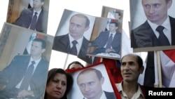 Башар Асадты жақтаушылардың жиыны. Дамаск, 7 мамыр 2012 жыл.