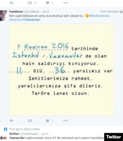 "A screenshot of a tweet in Turkish saying ""Terrorist attacks are now so frequent that we just need a form to fill out the date, place, and number of casualties."""