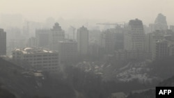 The polluted skyline of the Iranian capital, Tehran.