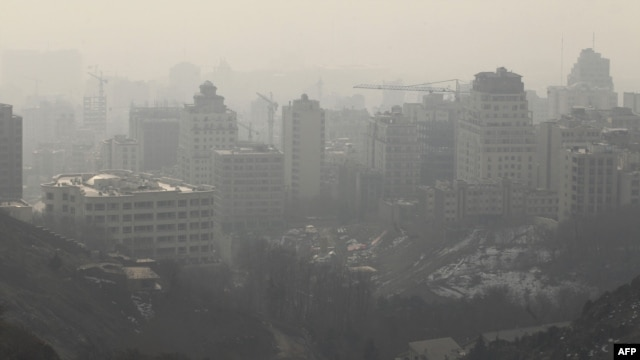 The polluted skyline of the capital, Tehran