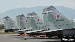 Armenia - Russian MiG-29 fighter jets at Erebuni airfield in Yerevan, 11Jun2014.