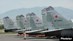Armenia - Russian MiG-29 fighter jets at Erebuni airfield in Yerevan, 11Jun2014.