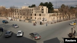 A view of the Serena Hotel in Kabul on March 21, one day after it was attacked by gunmen