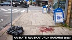 На месте нападения в финском городе Турку.