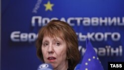 Catherine Ashton la conferința de presă dată la Kiev la 4 februarie