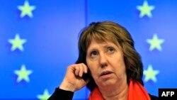Catherine Ashton după reuniunea Consiliului Miniștrilor de Externe de la Bruxelles la 20 februarie pe tema situației din Ucraina