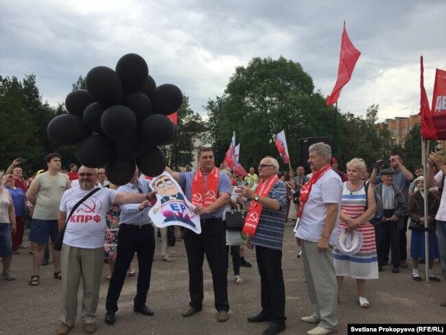 Митинг против повышения пенсионного возраста 28 июля в Пскове