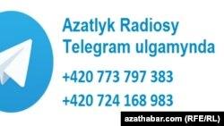 Turkmen banner. Telegram