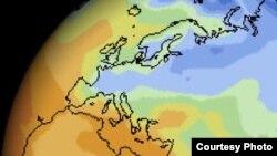 Карта температур Земного шара, полученная в ходе эксперимента Climate Change Experiment