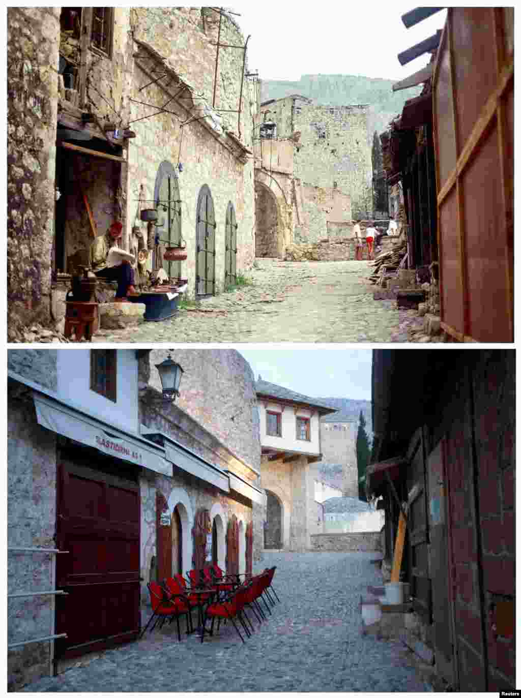A man reads on the steps of a building in the destroyed section of the old city of Mostar in June 1993. Beneath this photo is the same street on February 23, 2013.