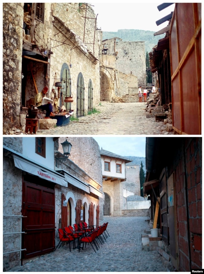 A man reads on the steps of a damaged building in the old section of Mostar in 1993. Below, the same street in February 2013.