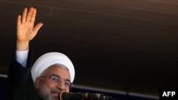 رئيس ايران حسن روحاني متحدثا في لورستان