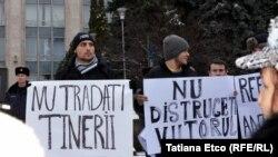 Protest la Chişinău împotriva alianţei PLDM-PD, 25 ianuarie 2015