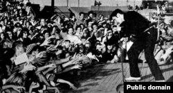 Элвис Пресли выступает на ярмарочной площади в Тупело, Миссисипи. 1956