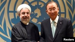 حسن روحانی، رییس جمهوری ایران، شنبه با بان گی مون، دبیرکل سازمان ملل متحد دیدار کرد.