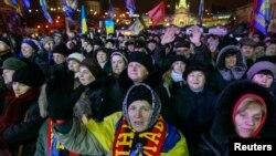 Киев шаҳрида 16 январь куни уюштирилган намойиш.