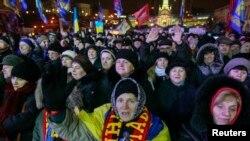 Proevropski demonstranti na mitingu u Kijevu, 16. januar 2014.