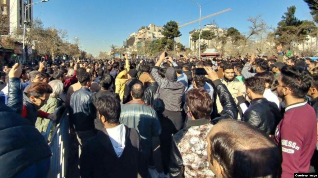 Many young people are seen in this photo showing protests against unemployment and corruption in Mashhad, Iran in December 2017.