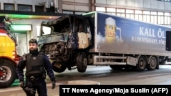 This picture taken on April 8 shows the truck that was used to crash into pedestrians in Stockholm.
