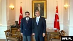 Turkey -- President Abdullah Gul (R), interviewed by RFE/RL's correspondent Mais Alizade, Istanbul, Sep2008
