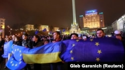 Կառավարության որոշման դեմ բողոքող ուկրաինացիների ցույցը Կիևի կենտրոնում, 21-ը նոյեմբերի, 2013թ․