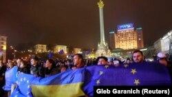 Украинадағы қарсылықтың алғашқы күні. Киев, 21 қараша 2013 жыл.