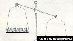 Әзірбайжан суретшісі Рашид Шериф салған карикатура. Көрнекі сурет.