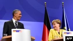 Канцлер Германии Ангела Меркель (справа) и президент США Барак Обама. Ганновер, 24 апреля 2016 года.