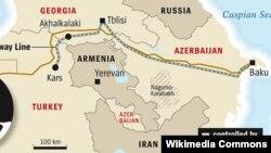 Բաքու-Թբիլիսի - Կարս երկաթգծի քարտեզը