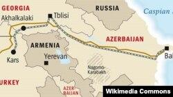 Bakı-Tbilisi-Qars dəmir yolu xəttinin xəritəsi