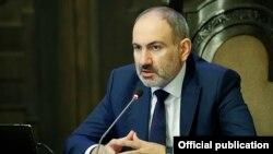 Armenia -- Prime Minister Nikol Pashinian speaks during a cabinet meeting in Yerevan, April 16, 2020.