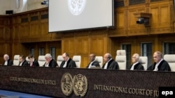 Халықаралық соттың Украинаның Ресейге қарсы шағымы бойынша аралық шешім шығаратын отырысы. Гаага, Нидерланд, 19 сәуір 2017 жыл.
